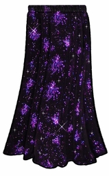 SOLD OUT! SALE! Hot! Stunning! Black & Purple Glittery Fireworks Bursts Plus Size Slinky Skirt Supersize 3x