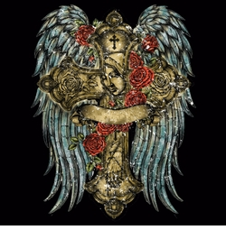 SOLD OUT!!! Hot! Tattoo Prints! Cross And Roses With Wings Plus Size & Supersize T-Shirts S M L XL 2x 3x 4x 5x 6x 7x 8x
