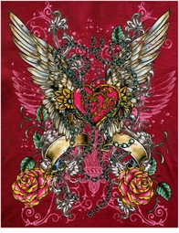 SALE! Hot! Tattoo Prints! Sublimation Winged Heart Plus Size & Supersize T-Shirts S M L XL 2x 3x 4x 5x 6x 7x 8x