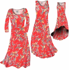 SOLD OUT! CLEARANCE! Imperial Red With Oriental Lily Slinky Print Plus Size & Supersize Dresses 0x