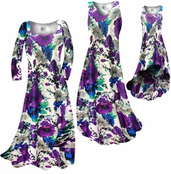SOLD OUT! CLEARANCE! Indigo Blue & Purple Bellflowers Floral Slinky Plus Size & Supersize Dresses XL