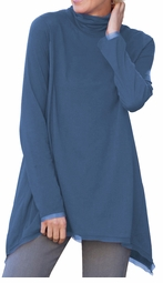 SOLD OUT!!!! Indigo Blue Trapeze Plus Size A-Line Turtleneck Tunic Top 4x