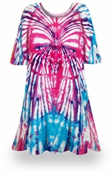 SALE! Itsy Bitsy Spider Pink/Blue Tie Dye Plus Size & Supersize X-Long T-Shirt 0x 1x 2x 3x 4x 5x 6x 7x 8x