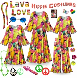 SOLD OUT! CLEARANCE! Lava Love Print Hippie Costume - 60's Style Retro Dress or Top & Wide-Bottom Pant Set Plus Size & Supersize Halloween Costume Kit  1x