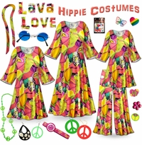 CLEARANCE! Lava Love Print Hippie Costume - 60's Style Retro Dress or Top & Wide-Bottom Pant Set Plus Size & Supersize Halloween Costume Kit 0x 1x 4x