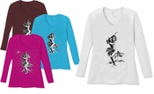 SALE! Layla With Sword V Neck / Round Neck Long Sleeve Plus Size Shirt White Teal Raspberry Brown Teal Lime Wine 4x 5x