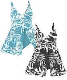 SOLD OUT! Plus Size Black & White Leaf Design Flyaway Swimdress