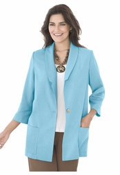"SALE! Light Blue 3/4"" Sleeve Plus Size Blazer Jacket 2x 3x 4x"