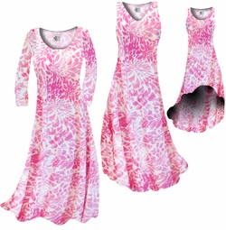 SOLD OUT! Light Pink Tropical Flowers & Spots  Slinky Print Plus Size & Supersize A-Line Dresses 1x 3x