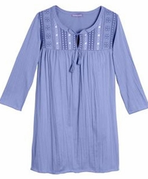 SOLD OUT! Light Purple Crinkle Knit Plus Size Tunic Top With Tie Neck And Embroidery 4x