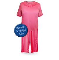 SALE! Light Weight Round Neck Plus Size Capri Pajama/Lounge Set 3XL