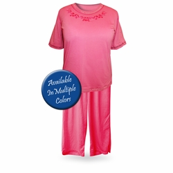 SOLD OUT! Light Weight Round Neck Plus Size Capri Pajama/Lounge Set