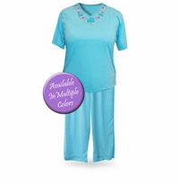 SALE! Light Weight V Neck Plus Size Capri Pajama/Lounge Set 3XL