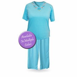 SOLD OUT! SALE! Light Weight V Neck Plus Size Capri Pajama/Lounge Set 3XL