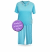 SOLD OUT! CLEARANCE! Light Weight Purple V Neck Plus Size Capri Pajama/Lounge Set 3x