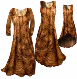 SOLD OUT! FINAL SALE! Lightweight Brown & Tan Slinky Plus Size & Supersize A-Line Dresses 4X