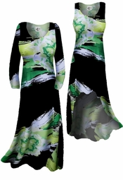 SOLD OUT!!!!!!!!!! SALE!!!!!!!! Lightweight Green & Black Print Slinky Plus Size & Supersize A-Line Shirts,  2X