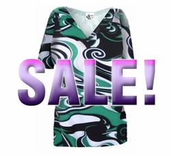 SOLD OUT! SALE! Lightweight Green & Black Swirl Print Slinky Plus Size & Supersize A-Line Shirt 2x