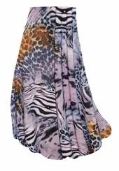 CLEARANCE! Lilac & Brown Multi Animal Skin Slinky Print Plus Size & Supersize Skirts! 1x