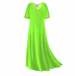 FINAL CLEARANCE SALE! Plus Size Lime Green Slinky Sleeve Dress 1x
