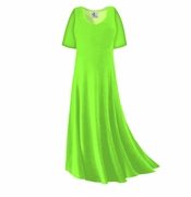 CLEARANCE! Plus Size Lime Green Slinky Sleeve Dress 1x
