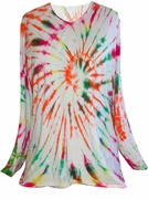 SOLD OUT! CLEARANCE! Long or Short Sleeve White Red Green Yellow Bright Swirl Tie Dye Plus Size T-Shirt XL