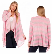 SALE! Long Pink Striped Plus Size Knit Cardigan Jacket 4x