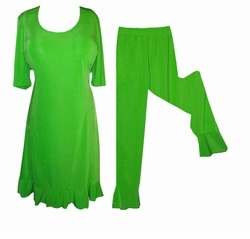 SOLD OUT! Lovely Green Poly/Cotton Plus Size Princess Cut Ruffle Trim 2 Piece Top & Pants Set