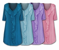CLEARANCE! Plus Size Solid Color Lovely Ruffled V-Neckline Slinky Top 3x 4x