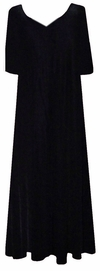 SOLD OUT! CLEARANCE!  Lovely Plain Solid Black V-Neckline Slinky Plus Size Dress 3x