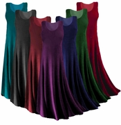 CLEARANCE! Plus Size Solid Color Slinky Tank Dress 0x