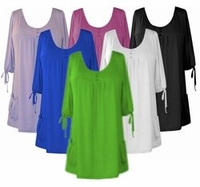 SALE!  Magenta or Lime Slinky Pocket Babydoll Tops 4x 5x 6x