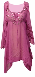 SOLD OUT! Magenta Semi Sheer Flutter With Metal Decor Plus Size Top 3x