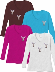 SALE! Mini Silver Shiny Angels V Neck / Round Neck Long Sleeve Plus Size Shirt 5x White Teal Raspberry Brown Teal Lime Wine 4x 5x