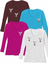 FINAL CLEARANCE SALE! Mini Silver Shiny Angels V Neck / Round Neck Long Sleeve Plus Size Shirt Black Brown Purple 3x 4x 5x