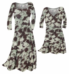 FINAL CLEARANCE SALE! Mint Green & Chocolate Brown Blotches Slinky Print Plus Size & Supersize A-Line Dresses 1x