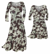 CLEARANCE! Mint Green & Chocolate Brown Blotches Slinky Print Plus Size & Supersize A-Line Dresses 1x