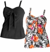 SALE! Plus Size Black Or Floral Multi-Tie Tankini Top Swimsuit  3x