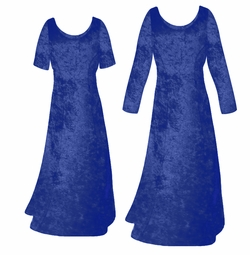 SOLD OUT! SALE! Navy Blue Crush Velvet Plus Size & Supersize Sleeve Dress 5x