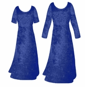 SALE! Navy Blue Crush Velvet Plus Size & Supersize Sleeve Dress 5x 6x