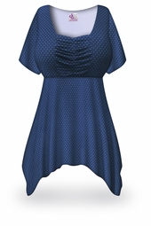 SOLD OUT! SALE! Navy Blue w/ White Polka Dots Slinky Plus Size & Supersize Babydoll Top 3x