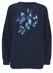 SALE! Navy Blue Pretty Butterfly Long Sleeve Shirt 3x 4x 5x 28w 32w