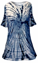 SALE! Pacific Swirl Tie Dye Plus Size & Supersize A-Line or Princess Seam X-Long T-Shirt 1x 2x 3x 4x 5x 6x 7x 8x