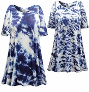 SALE! Blue Seas Tie Dye Plus Size & Supersize X-Long T-Shirt 0x 1x 2x 3x 4x 5x 6x 7x 8x