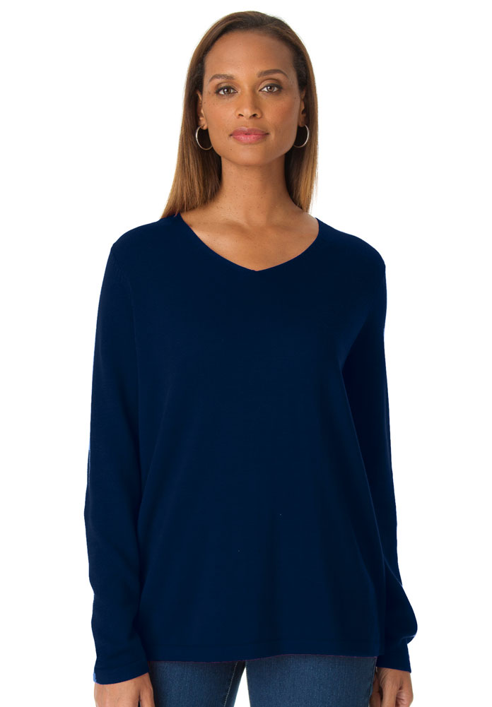 5ae0ac65573 SALE! Navy Blue V Neck Pullover Plus Size Sweater Top 4x