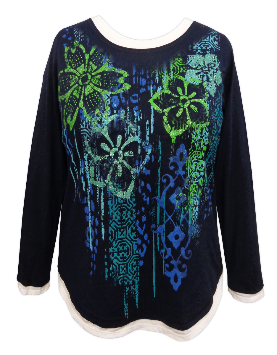 Sale Navy Floral Glittery Long Sleeve Plus Size Shirt 1x