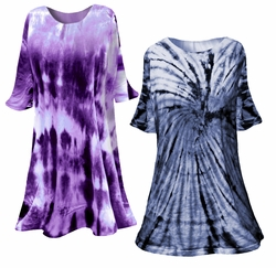 SOLD OUT! Navy or Purple Marble or Swirl Plus Size & Supersize X-Long Tie Dye T-Shirt