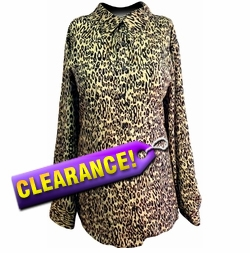 SOLD OUT! FINAL SALE! New Brown & Tan Leopard Beautiful Lightweight Plus Size Blouse 22w 24w 25w 28w - 3x