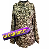 FINAL SALE! New Brown & Tan Leopard Beautiful Lightweight Plus Size Blouse 22w 24w 25w 28w - 3x