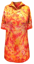 SOLD OUT - SEE clorandredti  CLEARANCE! Orange and Red Tie Dye Jazzy Metallic Print Plus Size Short Sleeve Polo Shirts 2xl